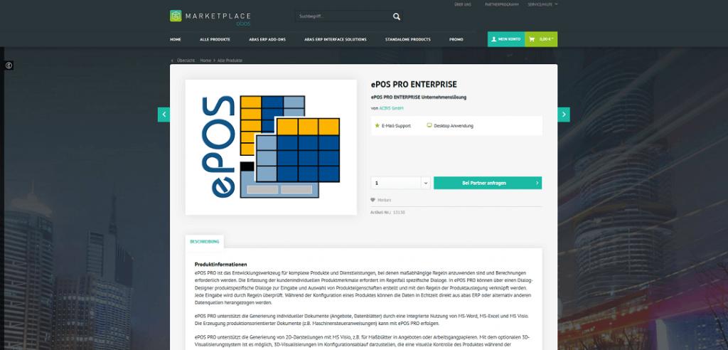 Produktkonfigurator ePOS im abas Marketplace