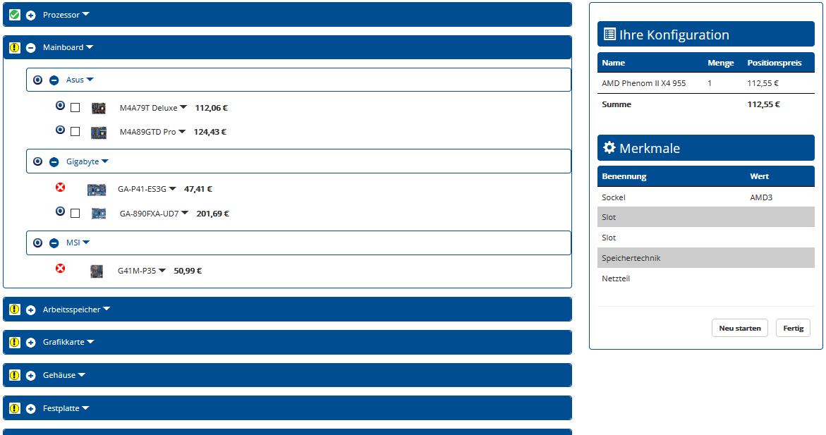 Produktkonfigurator ePOS-SMART - PC-Konfiguration